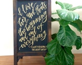Great Gatsby Chalkboard Easel/Wedding Chalkboard/Chalkboard with Stand/Baby Shower Chalkboard/Chalklettering/Chalkboard Sign/1920s Wedding