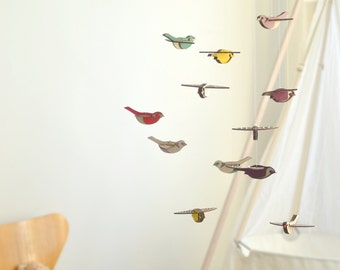 Flying High Bird mobile large - wooden mobile - nursery mobile
