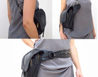 NEW** BURNING MAN Leather holster, leather utility belt, steam punk belt, leather festival belt, pixie belt, fanny pack, travel bag,