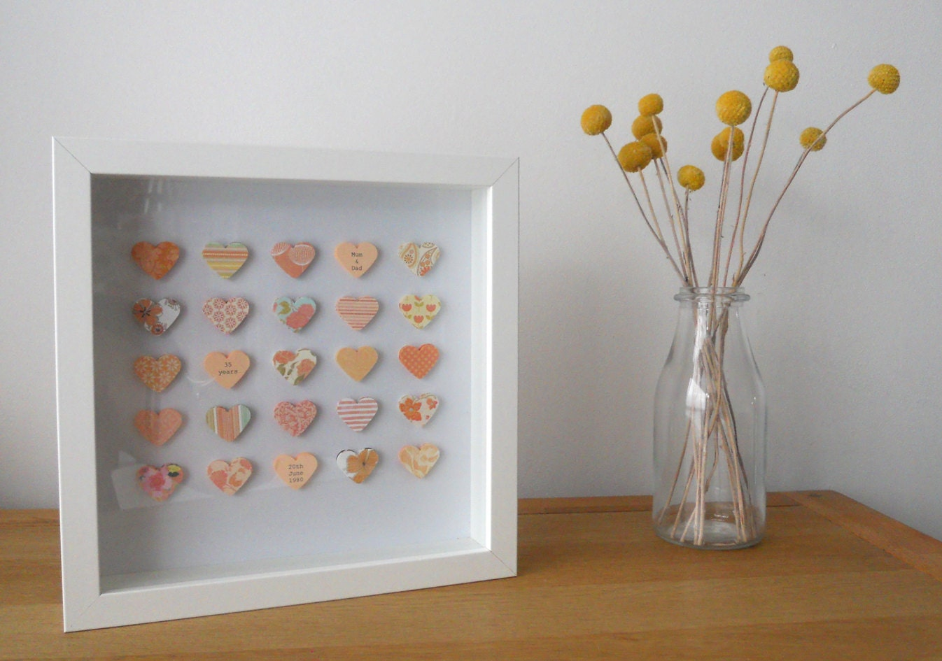 Coral Gifts 35th Wedding Anniversary: Personalised 35th Coral Wedding Anniversary Box Frame Picture