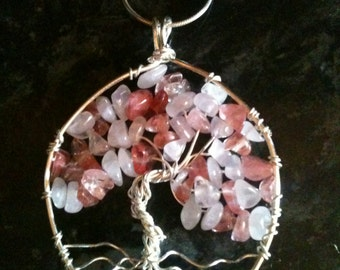 Rose Quartz Crystal Tree of Life Pendant