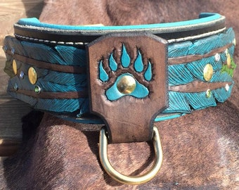Leather Dog Collar/Hand Tooled/ Feather and Bear Claw (Lined)