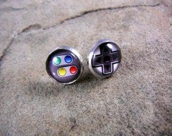 Video Game Controller Earrings, Gamer Earrings, Geek Earrings, Geekery Earrings, Game Earrings, Silver Stud Earrings, Post Earrings