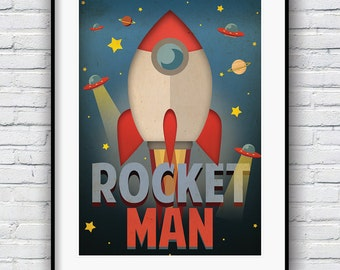 Nursery Art Boy, Nursery Print, Baby Boy Print, Rocket Poster, Boys Bedroom, Kids Room Decor, Nursery Decor