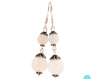White Jade and Sterling Silver Dangle Earrings