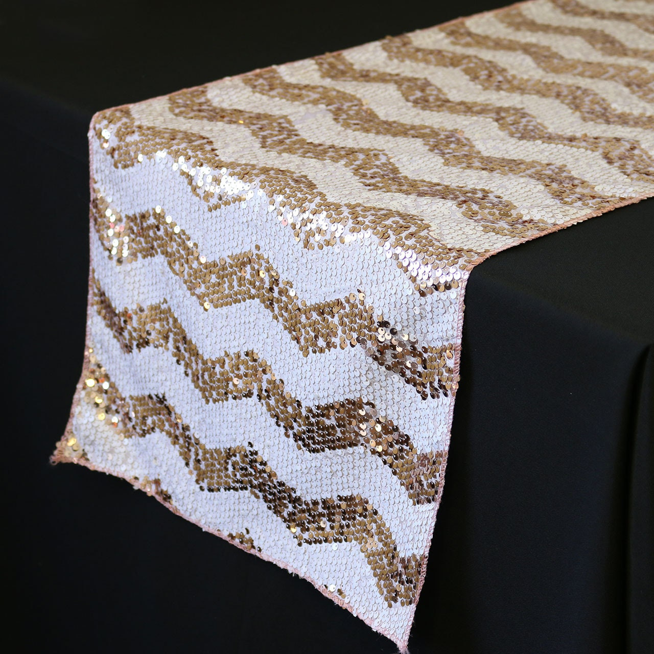 14 x 108 inch chevron sequin table runners by yourchaircovers for Table runners 52 inches