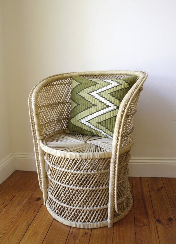 vintage cane chair bamboo wicker chair by RetroandRosesvintage