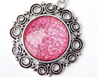 Bright Pink Glitter Pendant; Circle Necklace; Glass Dome Pendant; Nail Polish Jewelry; Silver Sun Pendant; Round Glass Pendant Necklace