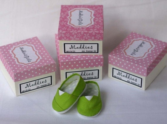 MADDIES - Toms Style Shoes fit  18 inch Doll - Lime Green