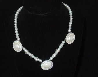 White Pearl & Crystal Necklace