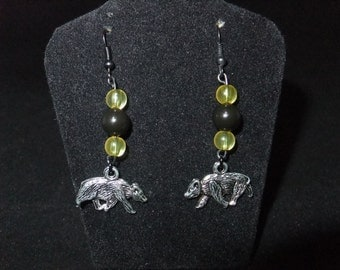 Yellow & Black Hufflepuff Earrings - H1 - Great Gift for Fans of the Books or Movies!