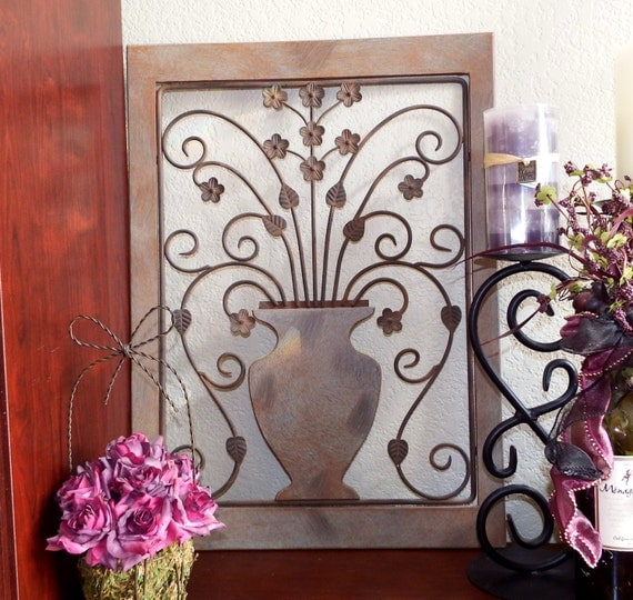 Wrought Iron Wall Decor Flowers : Wrought iron flower pot wall hanging by forgetmenotscottage