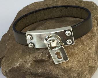 Khaki Leather Bracelet with an Antique Silver Rectangular Locket Clasp, Leather Bangle, Women's Leather Bracelet, Khaki and Silver