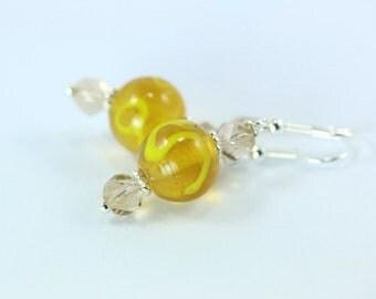 Lampwork Earrings, Yellow Lampwork Earrings, Yellow Earrings, Yellow Glass Earrings, Yellow Crystal Earrings, Yellow Lampwork Beads