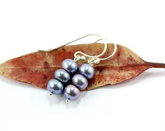 Blue Pearl Earrings, Sterling Silver Earrings, Freshwater Pearl Earrings, Bridal Earrings, Bridal Jewelry, Silver Earrings, Sterling Silver