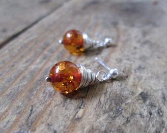 SALE Amber Earrings - Amber Jewelry, Stud Earrings, Amber Studs, Jewellery