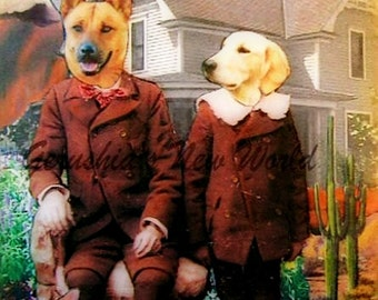 A Waiting Day for Miles and Matty - Anthropomorphic, Collage, Print, Mixed Media, Dogs