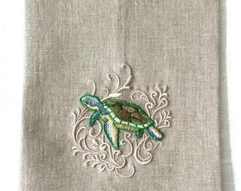 Sea Turtle Tea Towel or Guest Towel embroidered on Natural Linen.  Hostess Gift.  Beach Decor.  Fine Linens.