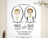 Custom Portrait Wedding Invitation and RSVP - Illustration - Couple's Portrait - Boho Invitation - Printed or Printable