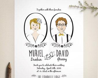 Custom Portrait Wedding Invitation and RSVP - Illustration - Couple's Portrait - Boho Invitation - Printed or Printable