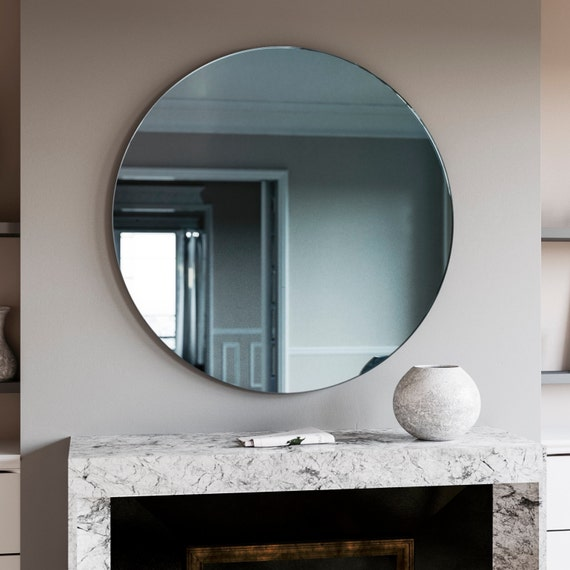 Round mirror blue round art deco wall mirror made with for Miroir 0 coller