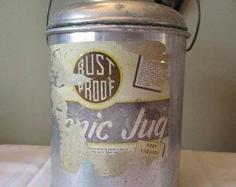 Vintage Aluminum Faris Picnic Jug, Insulated Water Jug, Owens-Corning Fiberglas Insulated Jug