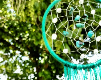 Green and Turquoise beaded Dream Catcher, Ghost Catcher Decor