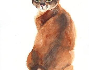 """Original watercolor cat abissinian ~10x14"""""""