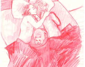 Red Couple - Original pencil and watercolor drawing - Mature