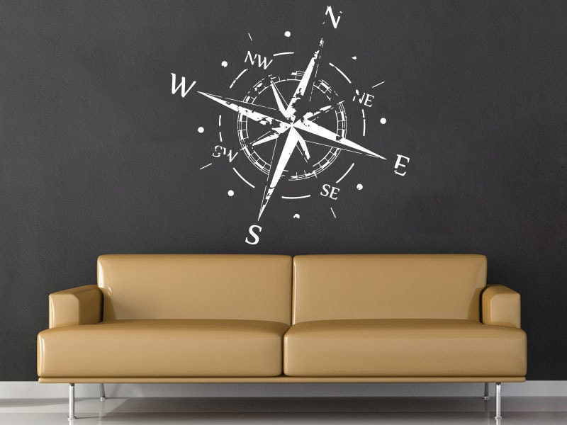 compass rose wall decal vinyl sticker decals nautical compass. Black Bedroom Furniture Sets. Home Design Ideas