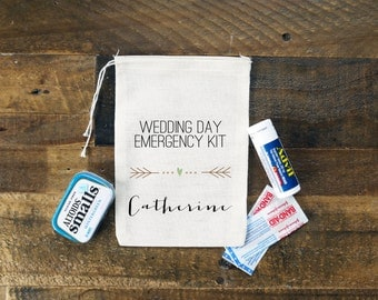 Wedding Day Emergency Kit Personalized Muslin Bag // Heart Arrow Bag