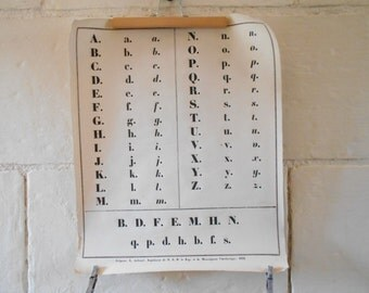 Antique French school chart calligraphy print, vintage alphabet letters.