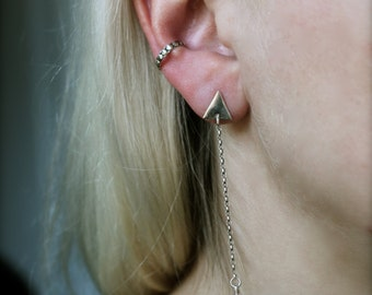 Sterling silver ear cuff.Beaded design.