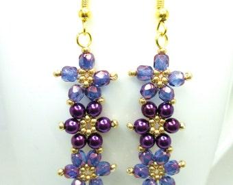 Purple and gold daisy floral earrings, flower earrings, violet lustre jewelry, summer earrings, flower jewellery, pearl flower, ER030