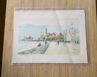 """Lithograph of """"Foreign Buildings"""" by Charles S. Graham"""