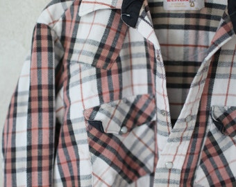 vintage western red plaid cowboy pearl snap button up shirt *