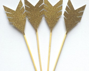 Gold Arrow Cupcake Toppers