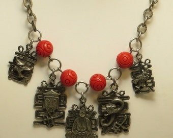 Vintage Art Deco era carved red celluloid dangling Buddha Chinese Asian theme charm statement necklace