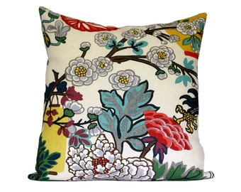 FLORAL PATTERN (1 sided) - Schumacher Chiang Mai Dragon Alabaster - Designer Pillow Cover - Choose Your Size