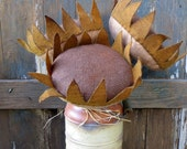 Primitive Sunflowers-Fabric Primitive Sunflowers-Rustic Country Sunflowers-