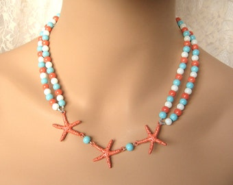 Double-strand Coral Starfish Beaded Necklace - Tuquoise, coral, aqua, white
