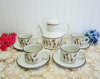 Vintage 1970's Midwinter Stonehenge Wild Oats Teapot w/lid Flat Cup and Saucer Set Made in England, Collectible Drinkware, Serving Set