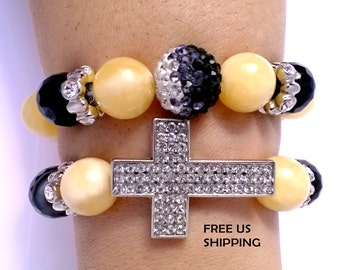 Set of Two Gemstones Black Onyx and Yellow Calcite Stretch Bracelets with Crystal Cross - Cleansing Purifying Protecting