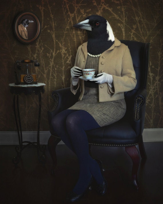 The Magpie and the Raven - LIMITED EDITION, Matted Print, Surreal, Whimsical, Fine Art Photography