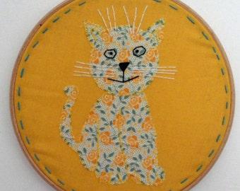 """50% off SALE Cat in a hoop embroidery hoop art 8"""" framed hoop art"""