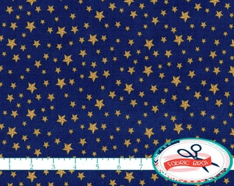GOLD Star on BLUE Fabric by the Yard, Fat Quarter USA America Fabric 4th of July Fabric 100% Cotton Fabric Quilting Fabric Yardage t2-39