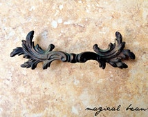 Vintage Victorian Baroque Brass Pulls by Keeler Brass Co /  French Provincial Handles /  Restoration Hardware /
