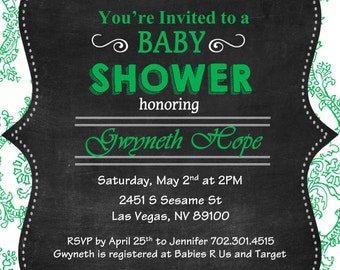 Baby Shower: Damask Chalkboard Printable 5x7 Digital Invitation