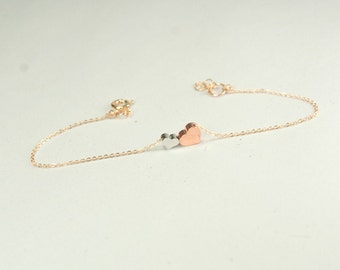 Mother son Bracelet, Rose gold heart bracelet. gift for new mommy. 2 heart jewelry. Wife Gift, Personalized Lovers Gift, Dainty Jewelry.