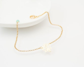 Lotus bracelet, gold bracelet, lotus, gold lotus, cute bracelet, friendship bracelet, charm bracelet, gold lotus charm, lotus, gold lotus